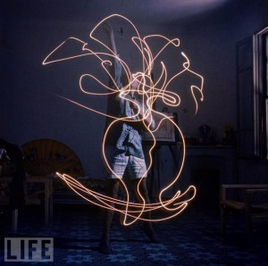 Everything is Illuminated, Pablo Picasso by Light Painting Photographer Gjon Mili