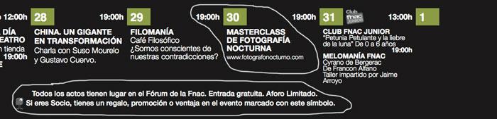 Masterclass en FNAC CASTELLANA de Madrid el 30 de marzo 2