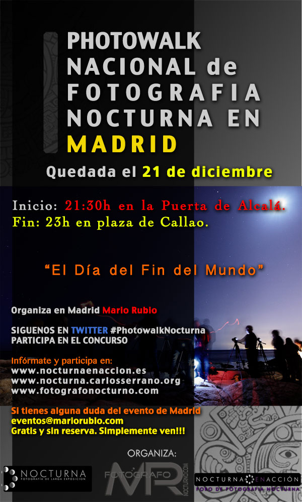 Photowalk nocturno en Madrid el 21 de diciembre 1