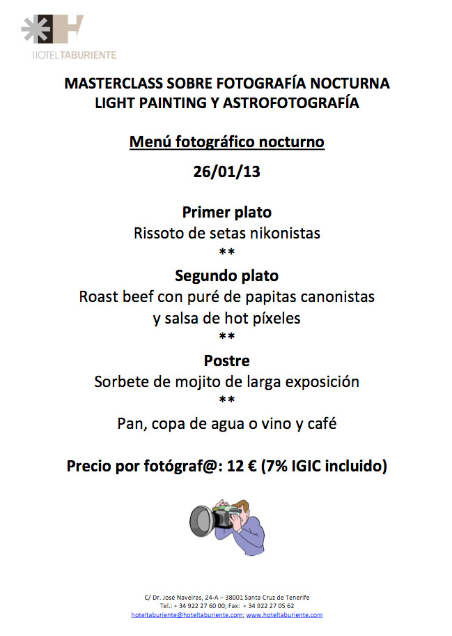 Menú fotográfico para el 26/I/2013 en Tenerife 1